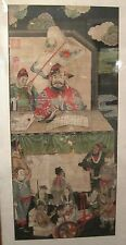 rare huge antique original Edo period 1700s Japanese scroll watercolor painting