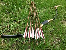 New Handmade Chinese Traditional Longbow Mongolian Bow 20-60lb +6 bamboo arrows