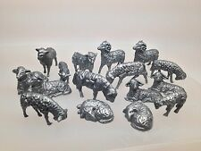 Recast Marx? German? Set Of 16 Sheep Lambs And Rams. Unknown Maker Farm Animals