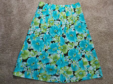 Requirements blue, green & brown floral full length pleated skirt Size 14, #1018