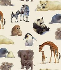 Animal Friends Mother and Baby Farm Animals Cream Cotton Fabric Fat Quarter