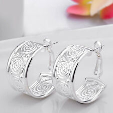 Women Fashion Jewelry 925 Silver Spiral Stamped Hoop Dangle Wedding Earring New