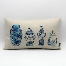30*50cm Vintage Chinese Blue And White Porcelain Vase China Linen Cushion Cover