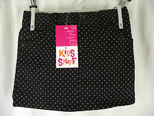 BNWT Girls Sz 5 Black Denim & White Polka Dots Short Stretch Mini Style Skirt