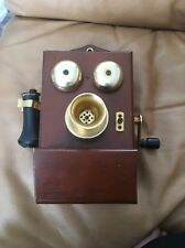 Vintage Wooden Hand Cranked Wall Telephone Untested Sold As Is