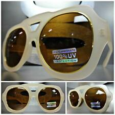 OVERSIZE CLASSIC VINTAGE RETRO Style SUN GLASSES SHADES Beige / Tan & Gold Frame