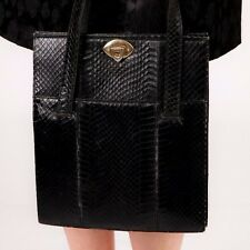 Vintage black python snake skin handbag by Franco Acieruo Made in Italy