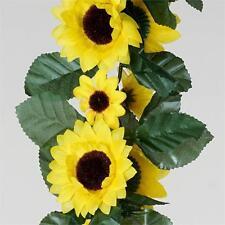 24 feet 3D Chain Yellow Sunflower Silk Wedding Garlands Home Decorations