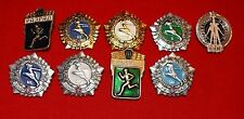 Nice Set Of 9 Authentic Soviet GTO Ready For Labor & Civil Defense Pin Badges