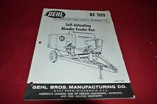 Gehl 100 Self Unloading Blender Feeder Box Dealer's Parts Book Manual BVPA
