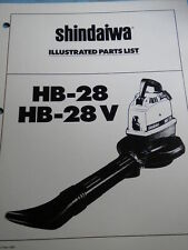 OEM Shindaiwa Blower HB-28 HB-28V Illustrated Parts List