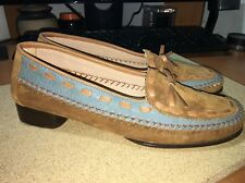 Salvatore Ferragamo Sport Brown Blue  Suede Leather Loafers Flats Italy 6 1/2 N
