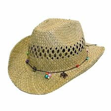 GIZZY® Ladies/Girls Cowboy Style Straw Wide Brim Hat with a Bead Band