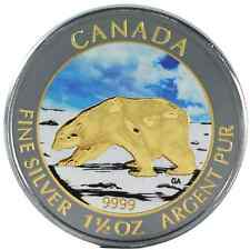 2013 1.5 Oz Ounce Canadian Silver Polar Bear Coin .9999 Ruthenium and Gold Day