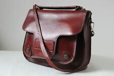Vintage small oxblood red leather cross body saddle shoulder bag satchel country