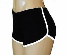 Black Retro Running Shorts with White Trim Medium
