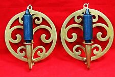 """Vintage Pair of Brass Wall Sconce Candle Holders Stamped VLCM 16-1 x 8"""" diameter"""