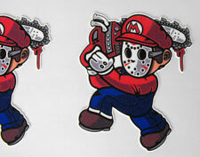 FUNNY Iron-On 3 inches Patch Flock Mario Bros Mario Massacre  MINT