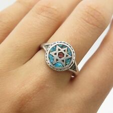 Old Pawn Atq Sterling Silver Turquoise Coral Gem Inlay Star of David Ring Size 7