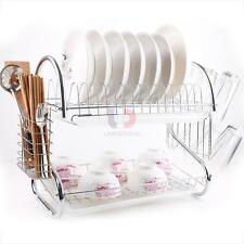Chrome 2 Tiers Dish Drying Drainer Dryer Metal Dish Mug Rack Multifunctional