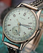 C. 1940's TOURNEAU 15 Jewel 5 Hand Pointer Date 18K Rose Pink Gold 34.5mm Watch