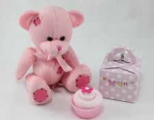 BABY GIRL SOCK CUPCAKE WITH TEDDY NEW BORN BABY SHOWER GIFT MATERNITY PRESENT