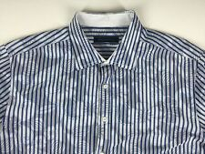Men's NEOCLASSICA XXL Embroidered Long Sleeve Flip Cuff Blue Striped Floral