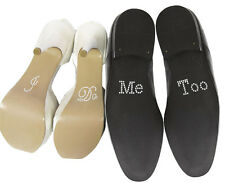 "Set of ""I Do"" ""Me Too"" Crystal Rhinestone Wedding Shoe Stickers, Silver"