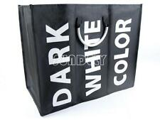 Black Large Laundry Washing Basket Clothes Storage Hamper 3 Sections Storage