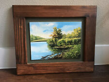 Vintage Painted PBN Nature Lake Marsh Scene Hand Crafted Wood Frame Art