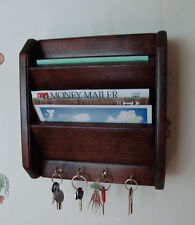 "12"" Mail Letter Rack, Handcrafted Wood Key Hook Organizer Holder WALL R Mahogany"