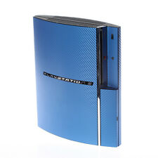 Textured Blue Carbon Fibre Playstation PS3 Fat decal skin  cover wrap