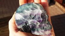 Natural Fluorite Hand Carved Realistic Crystal Skull 455g