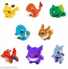 Pokemon x Nanoblock Kawada Set of 8 Pikachu Eevee Charizard Charmander Mini Lego