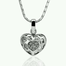 18K RGP White Gold Plated Heart Crystal Hollow Love Cage Pendant Necklace. 770