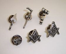 Masonic Square & Compasses Freemason Gabble, Trowel, & Tubalcain Lapel pin Lot