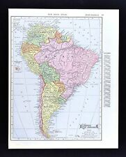 1908 McNally Map - South America - Brazil Argentina Chile Peru Colombia Bolivia