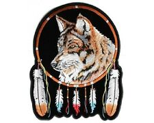 "(L11) Large WOLF & FEATHERS 10"" x 12"" sew / iron on back patch (3865) Biker"