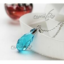 Anime SAO Sword Art Online Kirito Asuna Blue Crystal Necklace Pendant Cosplay