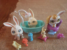 Littlest Pet Shop LPS Easter Bunny Bath Tub Bunnies Accessory Lot 3 Rabbits 8-64