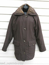 Brown Micro Suede Winter Coat size Medium Toggle Buttons Leopard Print Collar