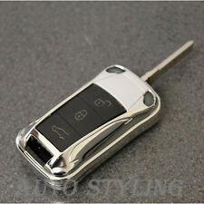 Chrome Key Fob Cover Flip Remote Case Casing Bag Housing 2 3 Button Porsche 44