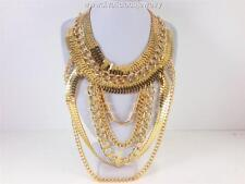 Metal Extravagant Chain Cascade Diva Necklace - Gold Tone