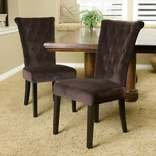 Set of 2 Chocolate Brown Velvet Dining Chairs w/ Button Tufted Accents