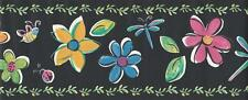 Wallpaper Border Watercolor Colorful Floral & Dragonflies Bees Ladybugs on Black