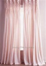Girl's Pink Smocked Shabby Rod Pocket Window Curtains Drapes Kids 100% Cotton