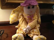 Bunny Rag Doll, Yellow Gingham Outfit.