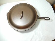 """LODGE VINTAGE # 12 SKILLET AND LID 3 NOTCH HEAT RINE""""VERY GOOD CONDITION"""""""