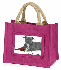 Staffie (B+W) Rose 'Love You Mum' Little Girls Small Pink Shopp, AD-SBT6R2lymBMP