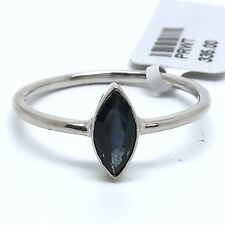 14k White Gold Natural Sapphire Ring. Marquise Shape And April Birthstone